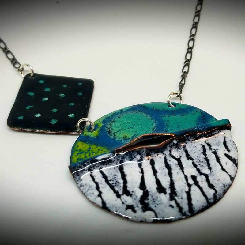custom contemporary enameled jewelry geo necklace maker portsmouth nh 1
