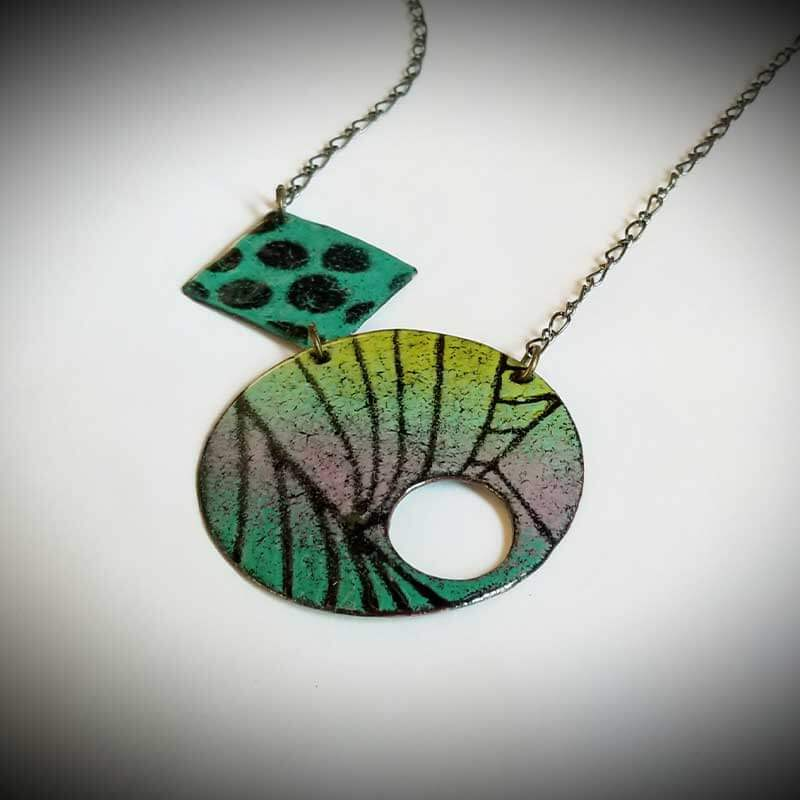 custom contemporary enameled jewelry geo necklace maker portsmouth nh 2