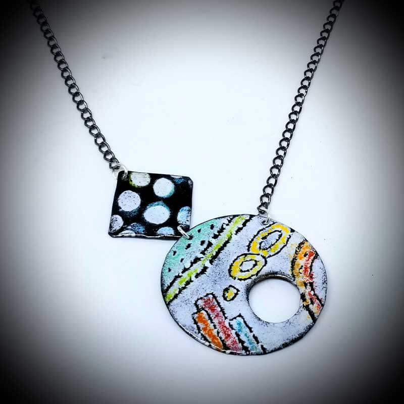 custom contemporary enameled jewelry geo necklace maker portsmouth nh 8