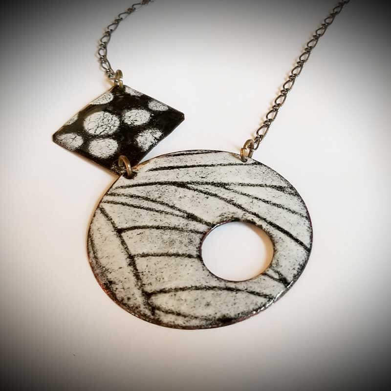custom contemporary enameled jewelry geo necklace maker portsmouth nh 9