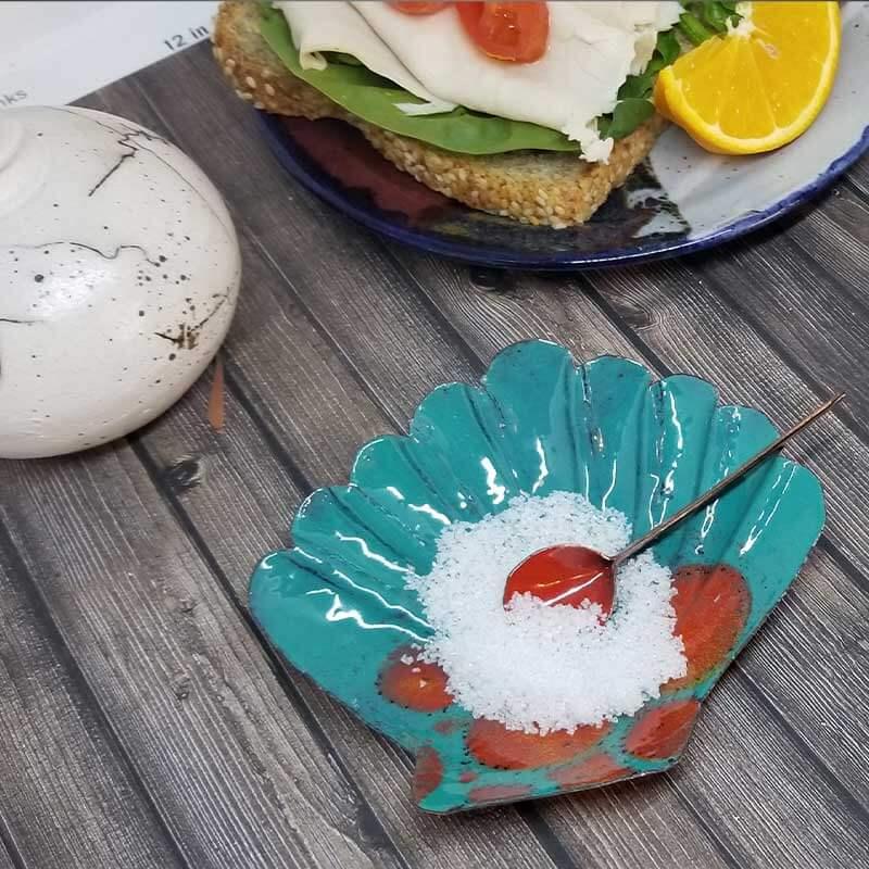 custom contemporary enamelware seashell salt cellars maker portsmouth nh 9