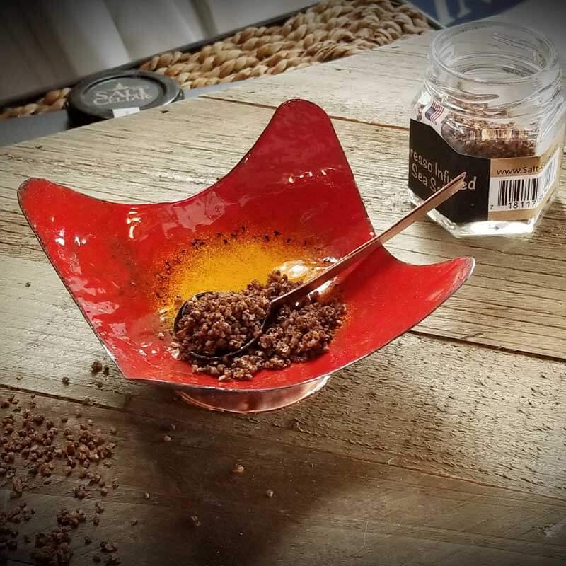 custom contemporary enamelware wavy salt cellars maker portsmouth nh 2