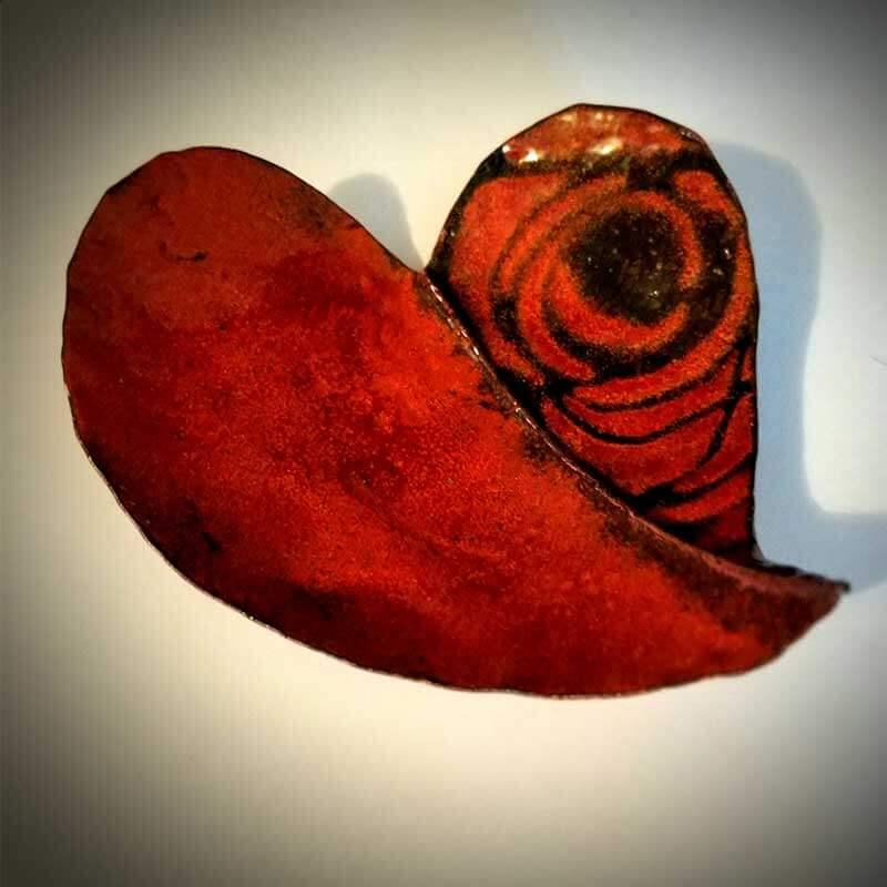 custom contemporary enamelware red rose heart bowl maker portsmouth nh 1