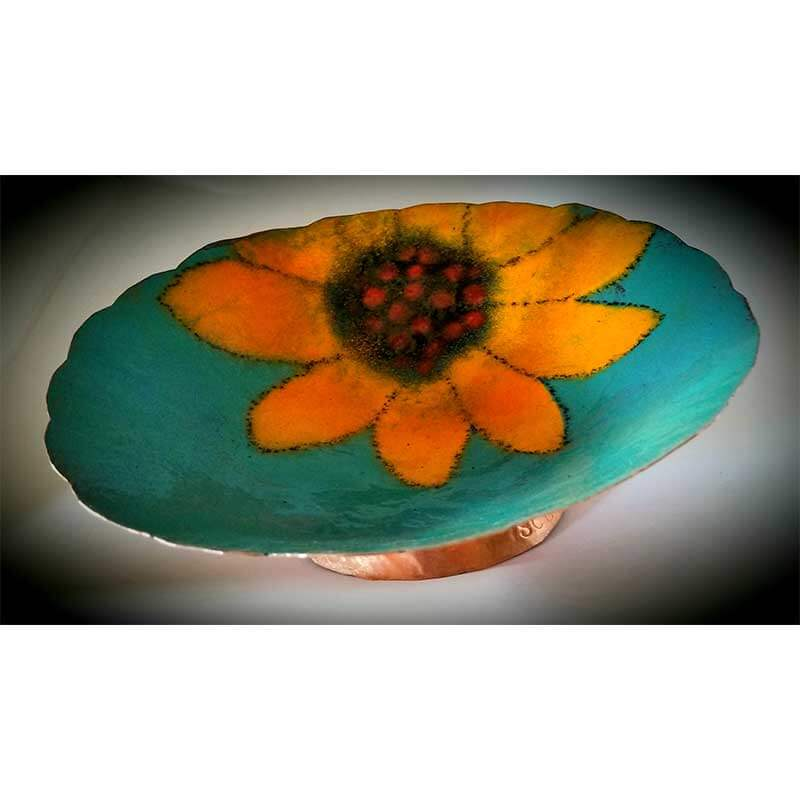 custom contemporary enamelware large sunflower bowl maker portsmouth nh 1