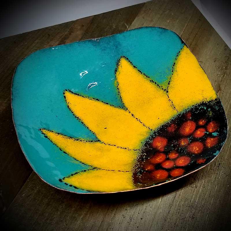 custom contemporary enamelware square sunflower bowl maker portsmouth nh 1